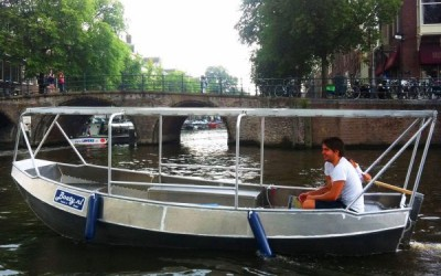 Rent boat Amsterdam Boaty partially covered with canopy