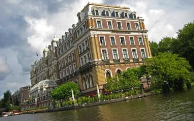 Amsterdam Amstel hotel from a Boaty rental boat